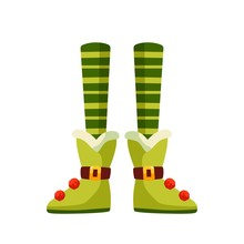 Christmas Elf Legs Flat Vector Illustration. Xmas Leprechaun, Santa Helper Cartoon Character. Pixie In Funny Boots With Buboes And Belts. Elfin Feet In Striped Tights Isolated On White Background.