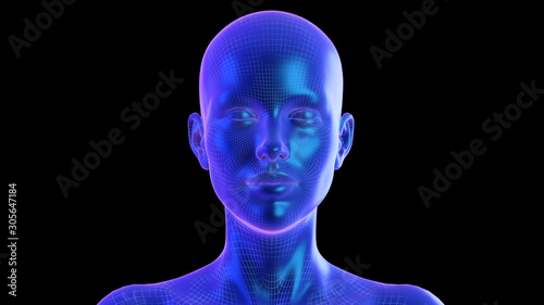 3d rendered abstract synthwave style illustration of a female head © SciePro