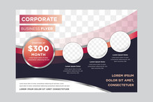 Horizontal Vector Background Template For Page Covers, Flyers, Leaflets And Advertising Billboards - A4 Proportion. Dark Purple Background And Gradient Red Element. Circle Shape. Space For Photo.