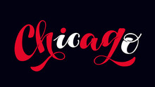 Chicago City Label - Cute Hand Drawn Doodle Lettering Postcard Banner