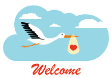 Stork Carries A Child In The Clouds. Stork With A Baby. Flat, Vector Illustration Of A Stork Carrying A Child.