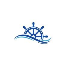 Ship Steering Logo Vector Icon...