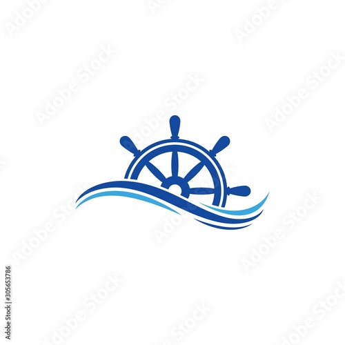 Photo  ship steering logo vector icon illustration template design
