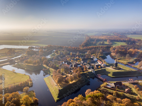 Photo  Aerial view of Fortification village of Bourtange