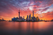 canvas print picture - sunrise over Lujiazui skyline and Huangpu river, Shanghai, China