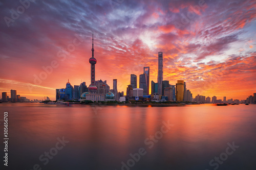 sunrise over Lujiazui skyline and Huangpu river, Shanghai, China Wallpaper Mural