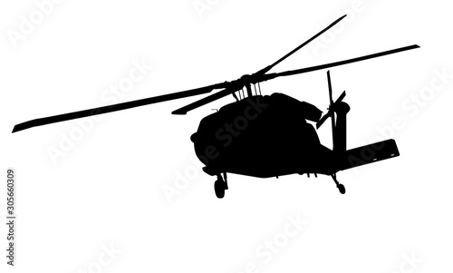 Helicopter detailed silhouette. Vector EPS 10 Canvas Print
