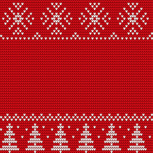Christmas Decorative White Ornament Of Trees And Snowflakes On Red Canvas. Winter Background Or Wallpaper Vector. Xmas Sweater With Embroidery In Traditional Style. Christmas Or New Year Illustration