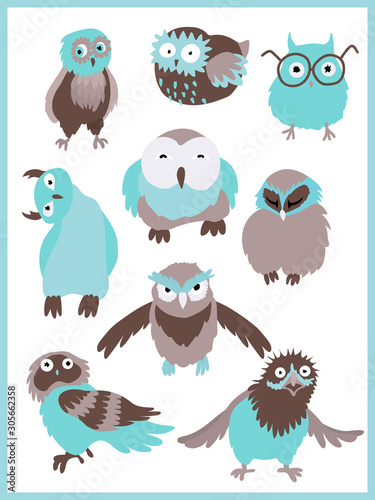 Set of characters of owl 9 designs Tablou Canvas