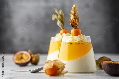 Fototapeta Dessert with Passion Fruit and Physalis obraz