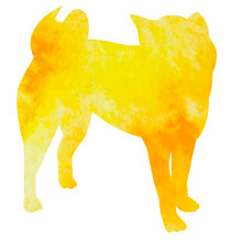 Yellow Watercolor Silhouette Of A Dog Alone Stands