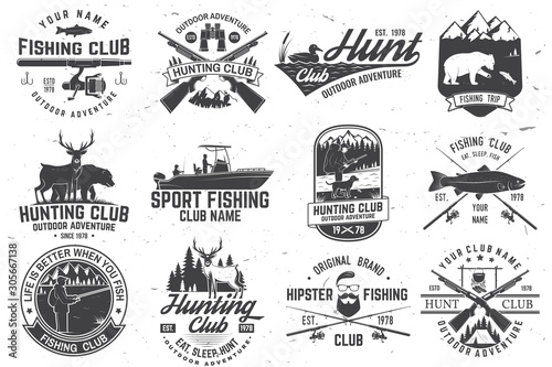 Photo  Set of hunting club and fishing club badges