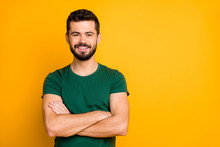 Portrait Of Cheerful Glad Emotional Guy Have Spring Time Weekends Cross Hands Wear Modern Clothing Isolated Over Vivid Color Background