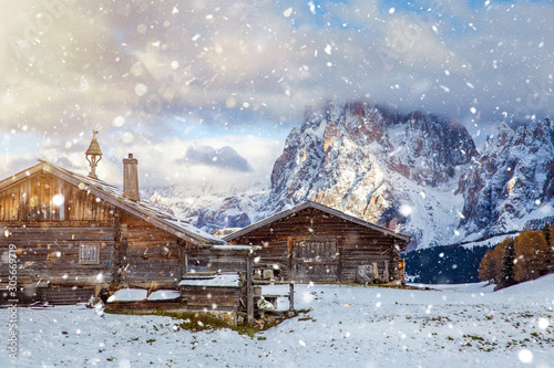 Fotografie, Tablou  Beautiful Winter at Alpe di Siusi, Seiser Alm - Italy - Holiday background for Christmas