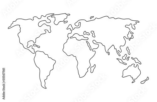 Fototapeta World map. Hand drawn simple stylized continents silhouette in minimal line outline thin shape. Isolated vector illustration obraz