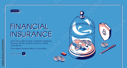 Carta da parati Financial insurance isometric landing page, money dollar bills and coins lying under glass dome