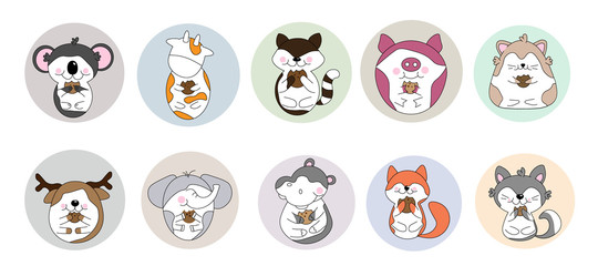 Cute koala, cow, raccoon, pig, hamster cat, moose, elephant, hippo, fox eating biscuit, kawaii