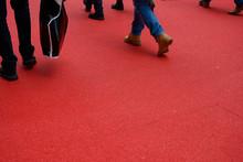 Fussgänger Auf Rotem Platz, S...