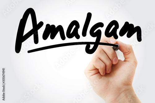 Hand writing Amalgam with marker Fototapet