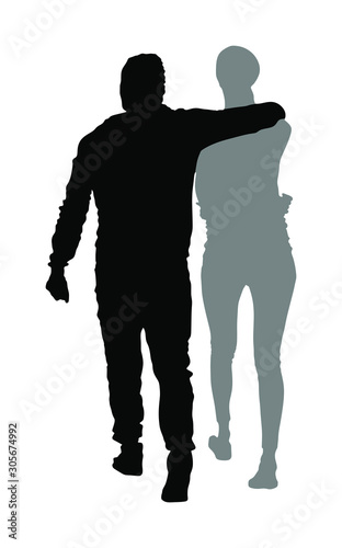 Hugged couple in love vector silhouette Canvas Print