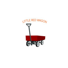 Little Red Wagon, Childs Red Wagon On White Background