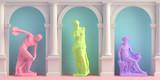 3d-illustration of interior with antique statues Discobolus, Venus, Mercury