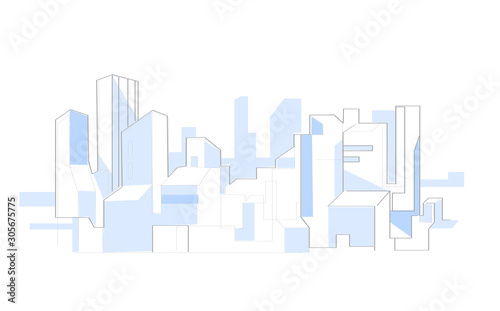 Simple modern minimalistic style illustration of city skyline with skyscrapers - Vector - 305675775