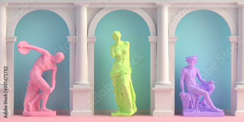 Photo 3d-illustration of interior with antique statues Discobolus, Venus, Mercury