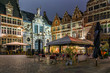 canvas print picture - Old square in Ghent (Gent), Belgium. Architecture and landmark of Ghent. Night cityscape of Ghent.