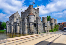 Castle Gravensteen, Ghent (Gent), Belgium.  Medieval Castle Gravensteen (Castle Of The Counts) In Ghent, Flanders.