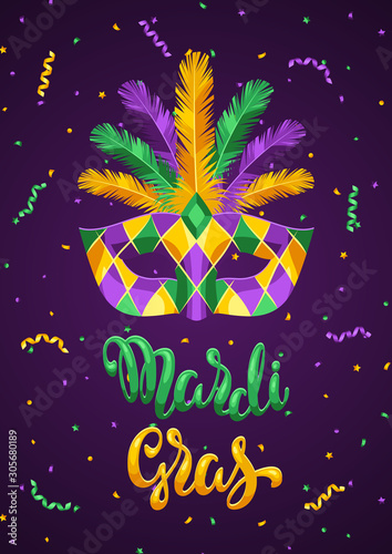 Mardi Gras party greeting or invitation card. Wallpaper Mural