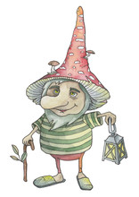 Gnome Dwarf With A Lantern And A Cane, Amanita On His Head, Watercolor Fairy Tale