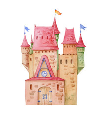 Old fairytale castle watercolor illustration with turrets, small towers, big wooden door on isolated white background.