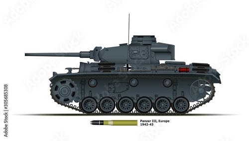 Fotografia  Char allemand Panzer 3 - Europe - WW2