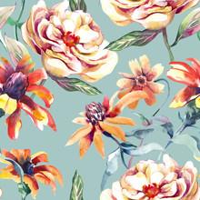 Summer Flowers Seamless Pattern. Watercolor Illustration.