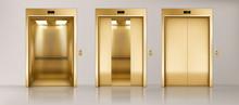 Golden Lift Doors. Office Hall...
