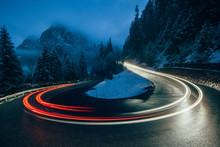 Night Traffic Lights On A Road...