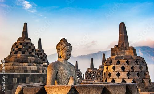Borobudur temple at sunrise, Java, Indonesia
