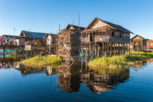Floating Village At Inle Lake,...