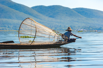 Panel Szklany Orientalny Fishermen at Inle lake, Shan State, Myanmar
