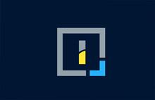 Blue Yellow Letter I Alphabet Logo Design Icon For Business