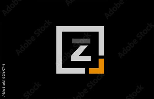 Cuadros en Lienzo  black white orange square letter Z alphabet logo design icon for company