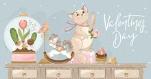 Valentine's Day Card. Romantic Cat With Festive Elements. Hand Lettering. Vector Illustration. Template For Invitation, Greetings, Congratulations, Posters, Photo Overlay.