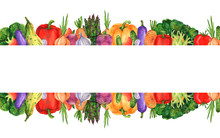 Two-sided Border Of Watercolor Bright Vegetables Hand-drawn For The Design Of Menus, Business Cards, Shop Windows, Textiles, Postcards And Any Design.