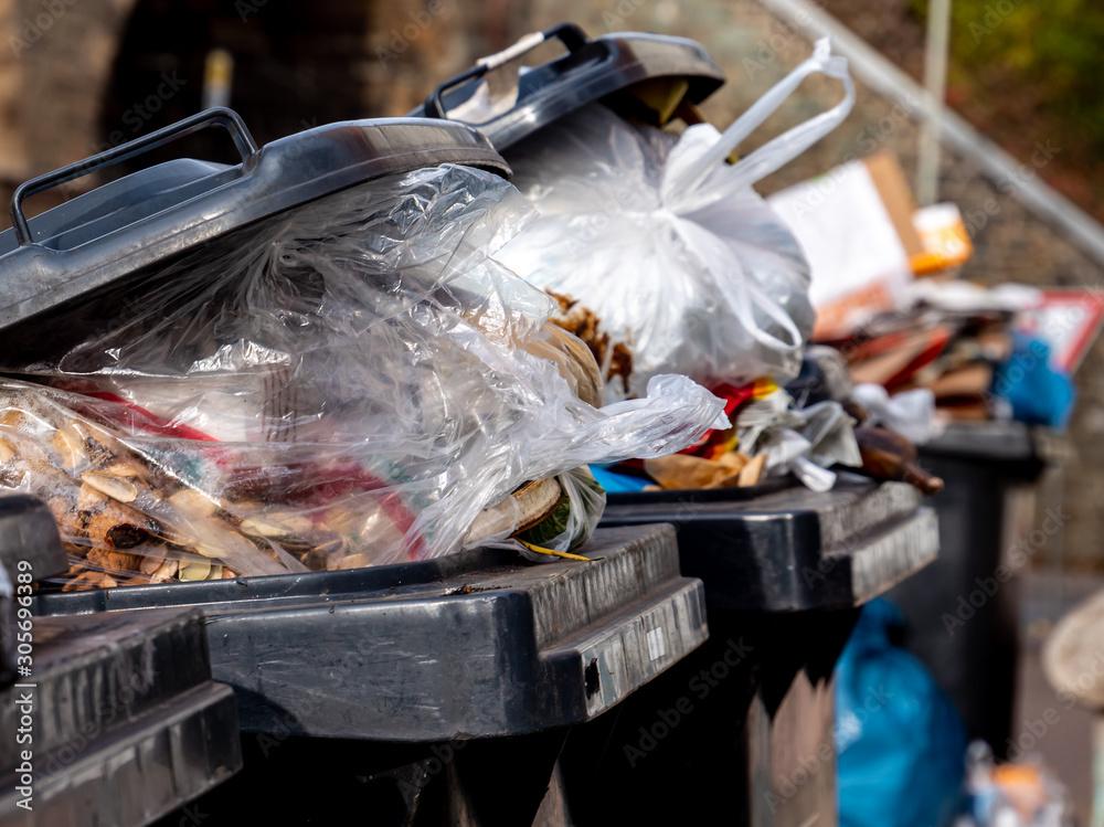 Fototapeta Mülltonnen mit vielen Müllsäcken