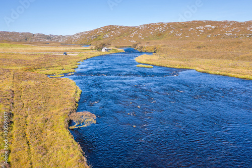 Aerial View over River Laxford in Scottish Highlands Fototapet