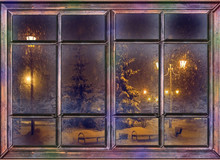 Frozen Window View The Night Before Christmas