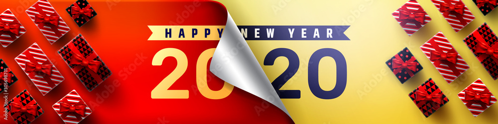 Fototapeta 2020 Happy New Year Promotion Poster or banner with open gift wrap paper and gift box.Change or open to new year 2020 concept.Promotion and shopping template for New Year.Vector EPS10