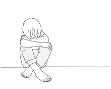 Sketch Of Child. Boy Sits With His Head On His Knees. Line Drawing Vector Illustration.