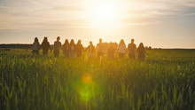Silhouettes Of A Group Of Friends Walking Across A Field In The Sunset Holding Hands.
